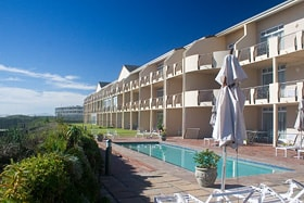 Leisure Bay Luxury Suites front swimming pool area